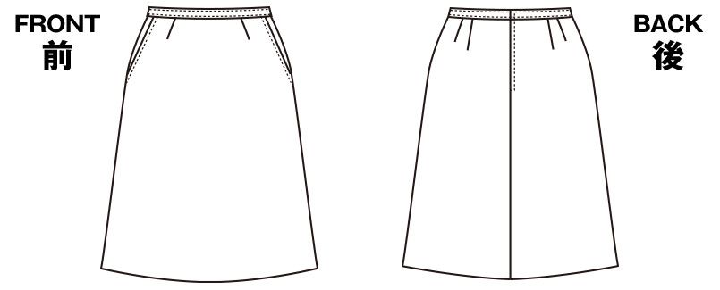 SELERY(セロリー) S-16091 [春夏用]Aラインスカート [ストライプ/ストレッチ/高通気] ハンガーイラスト・線画