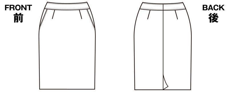 SELERY(セロリー) S-16130 [通年]夏涼しく、冬暖かい!ニットのタイトスカート[無地] ハンガーイラスト・線画