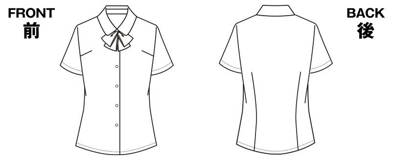 SELERY(セロリー) S-36692 36693 36696 36698 [通年]敏感肌の方も安心!清潔加工の半袖ブラウス(リボン付) ハンガーイラスト・線画