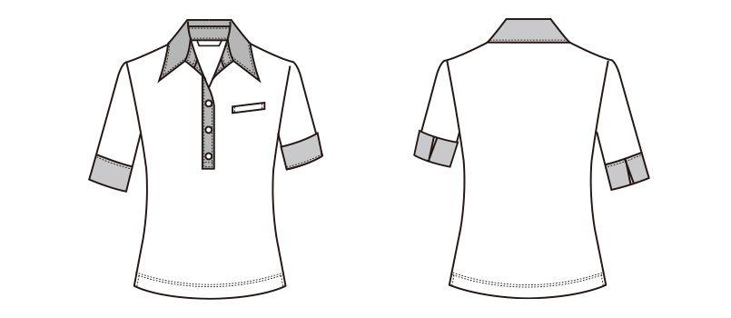S-36951 36959 SELERY(セロリー) ニットポロシャツ ストライプ ハンガーイラスト・線画