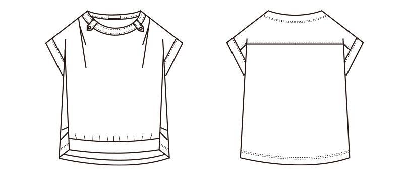 S-36961 36969 SELERY(セロリー) 半袖ニットプルオーバー [ストライプ/ニット] ハンガーイラスト・線画
