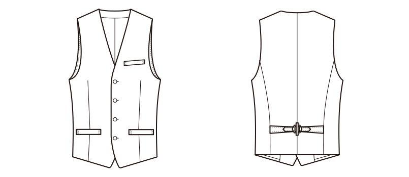 CJ4323 セブンユニフォーム 襟なしベスト(男性用) ハンガーイラスト・線画