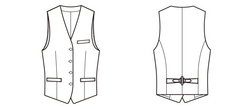 CJ4324 セブンユニフォーム 襟なしベスト(女性用) ハンガーイラスト・線画
