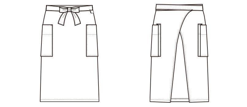 CT2574 セブンユニフォーム エプロン(男女兼用) ギンガムチェック ハンガーイラスト・線画