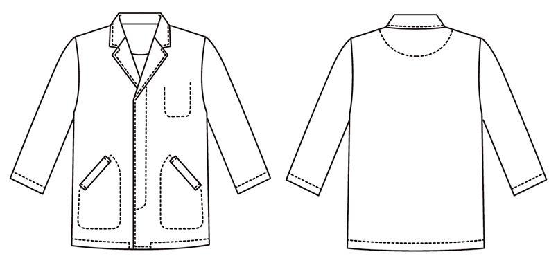 FA-313 Servo(サーヴォ) 調理白衣/七分袖(男性用) 襟付き ハンガーイラスト・線画
