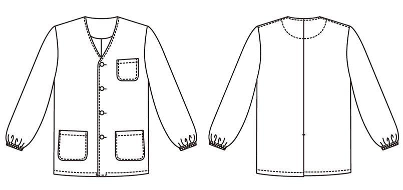 FA-321 Servo(サーヴォ) 調理白衣/長袖(男性用) 襟なし ハンガーイラスト・線画