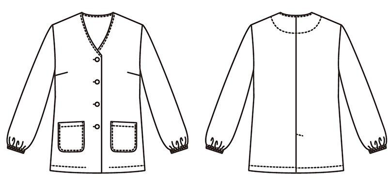 FA-330 Servo(サーヴォ) 調理白衣/長袖(女性用) 襟なし ハンガーイラスト・線画