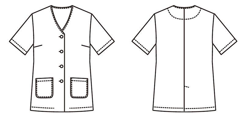 FA-332 Servo(サーヴォ) 調理白衣/半袖(女性用) 襟なし ハンガーイラスト・線画