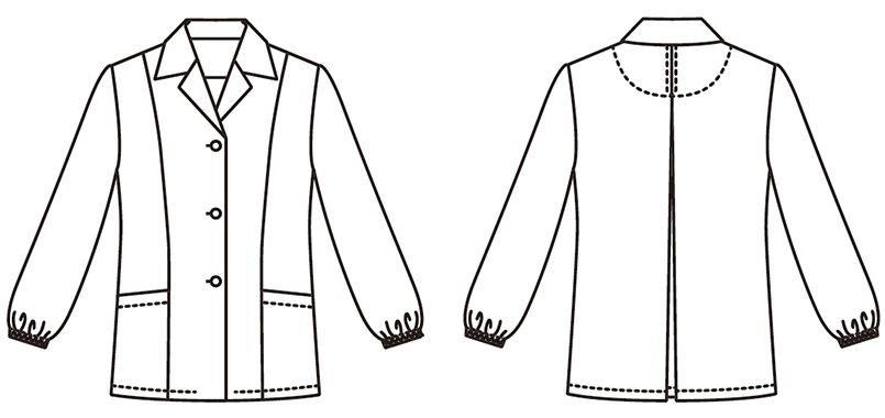 FA-335 Servo(サーヴォ) 調理白衣/長袖(女性用) 襟付き ハンガーイラスト・線画