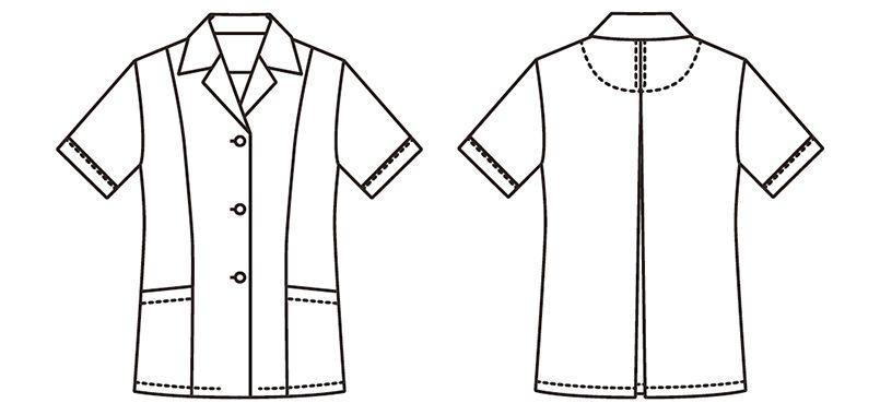 FA-337 Servo(サーヴォ) 調理白衣/半袖(女性用) 襟付き ハンガーイラスト・線画