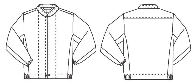 ジーベック 25205 長袖ファスナージャンパー(立ち衿)(男女兼用) ハンガーイラスト・線画