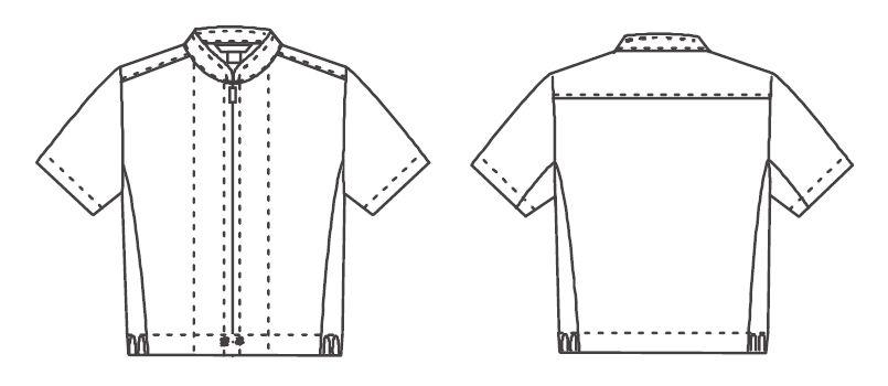 ジーベック 25206 半袖ファスナージャンパー(立ち衿)(男女兼用) ハンガーイラスト・線画