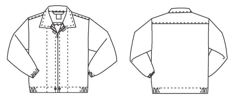 ジーベック 25210 長袖ファスナージャンパー(衿付)(男女兼用) ハンガーイラスト・線画