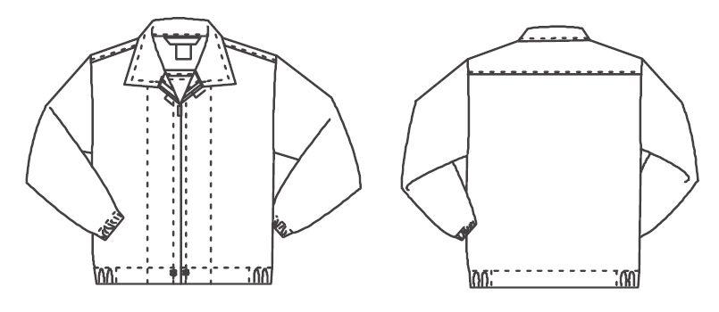ジーベック 25215 長袖ファスナージャンパー(衿付)(男女兼用) ハンガーイラスト・線画