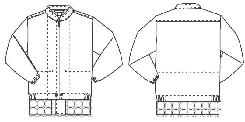 ジーベック 25220 長袖ファスナージャンパー(立ち衿)(男女兼用) ハンガーイラスト・線画