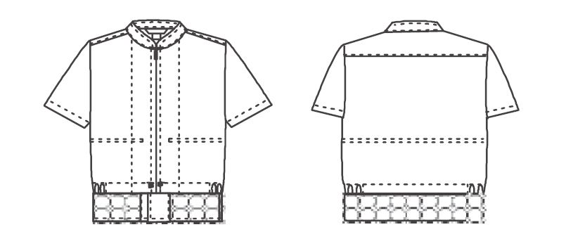 ジーベック 25221 半袖ファスナージャンパー(立ち衿)(男女兼用) ハンガーイラスト・線画
