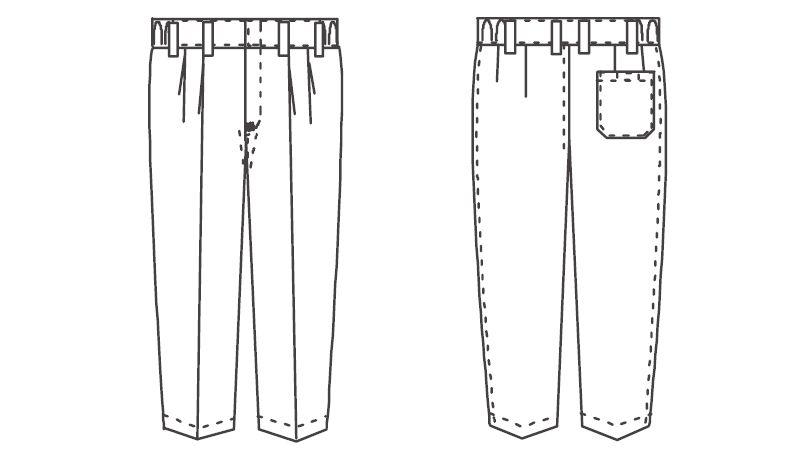 ジーベック 25300 スラックス(男性用) ハンガーイラスト・線画