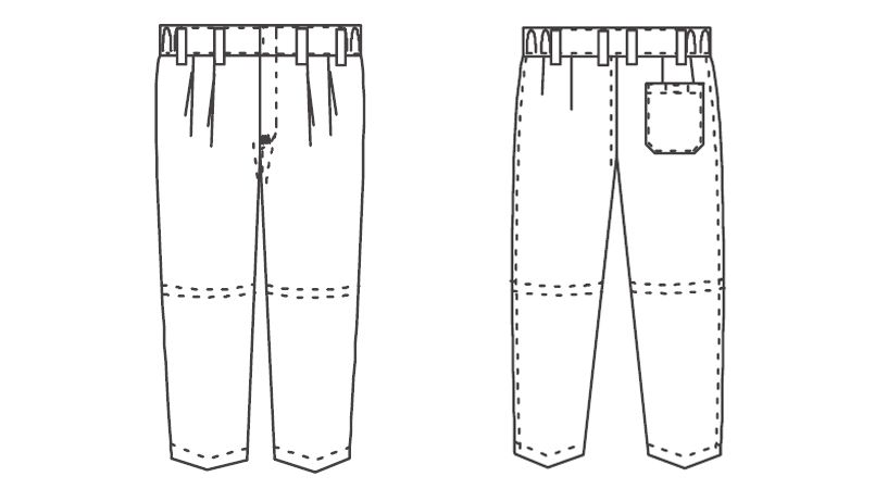 ジーベック 25301 スラックス(裾ネット付)(男性用) ハンガーイラスト・線画