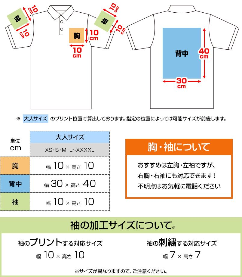 ドライポロシャツ(ポケ無し)(4.1オンス)(男女兼用) プリントエリア