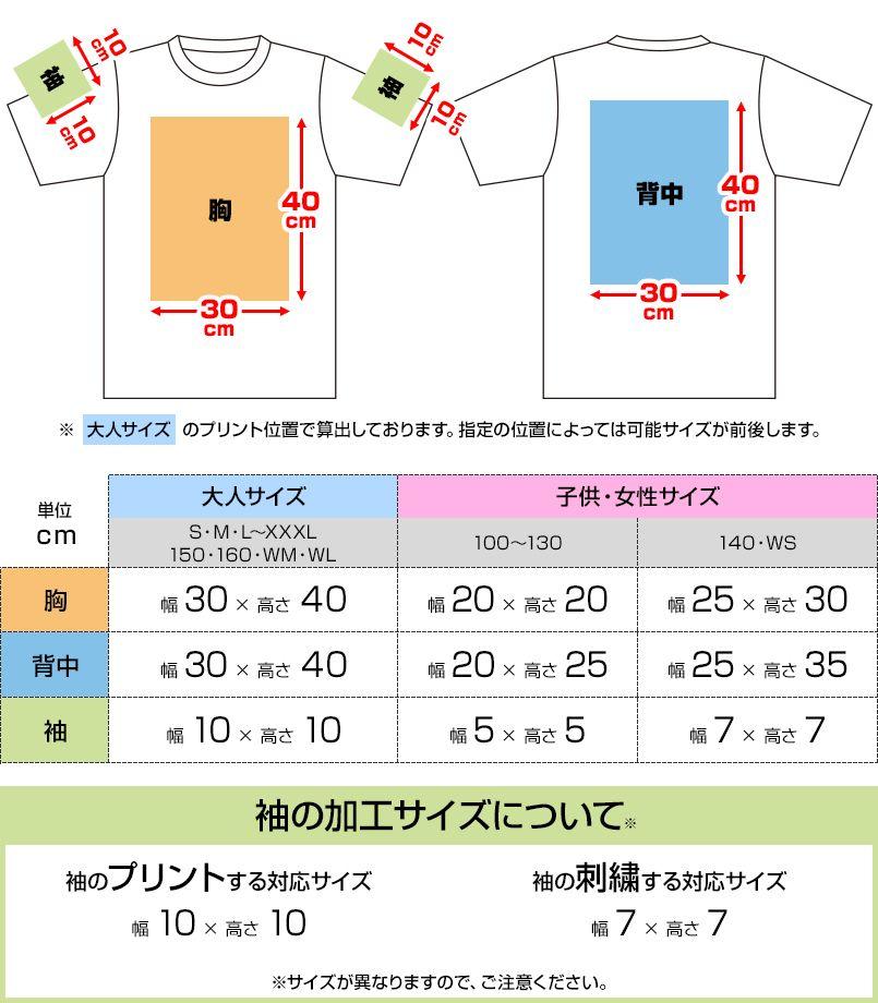 ヘビーウェイトTシャツ(男女兼用) プリントエリア