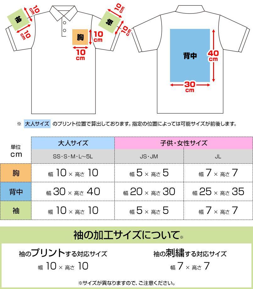 00141-NVP T/Cポロシャツ(ポケ無し)(5.8オンス)(男女兼用) プリントエリア