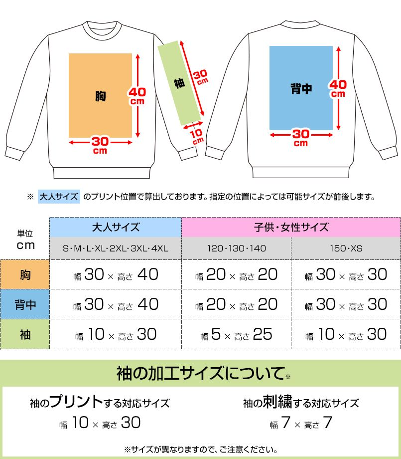 00183-NSC 裏パイル スタンダードトレーナー(9.7オンス)(男女兼用) プリントエリア