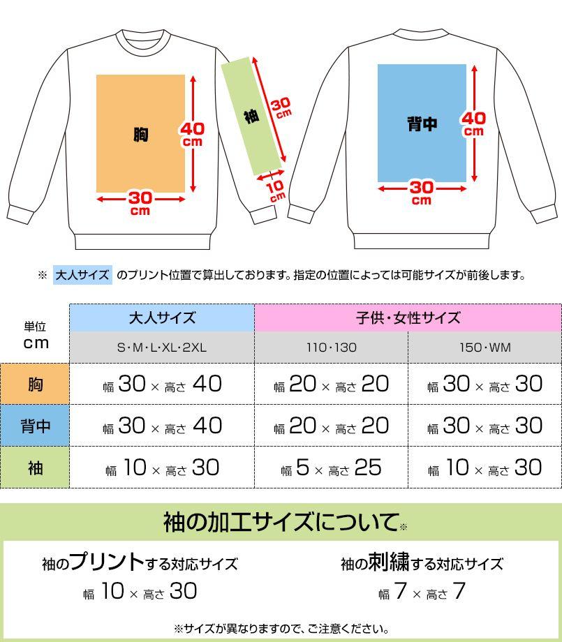 00219-MLC 裏パイル クルーネックライトトレーナー(8.4オンス)(男女兼用) プリントエリア