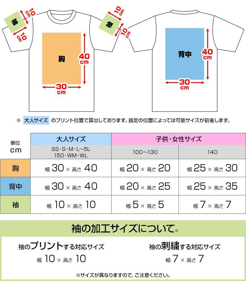ドライTシャツ(4.4オンス)(男女兼用) プリントエリア