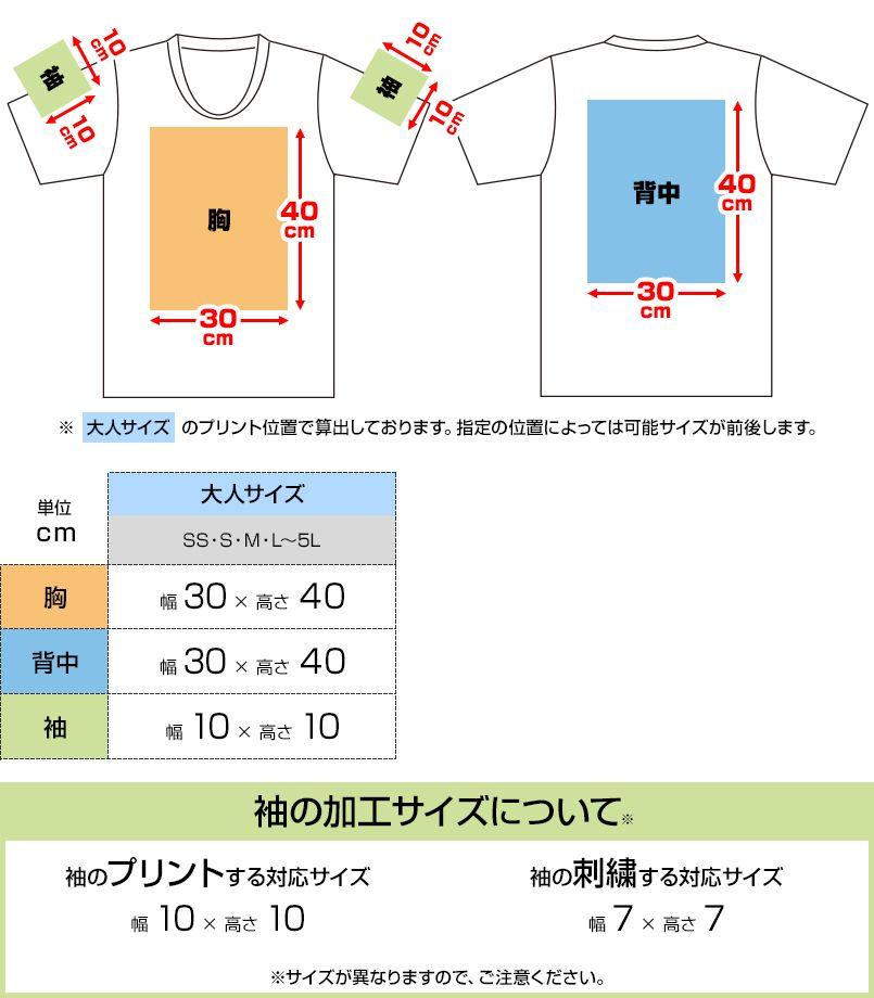 ドライVネックTシャツ(4.4オンス)(男女兼用) プリントエリア