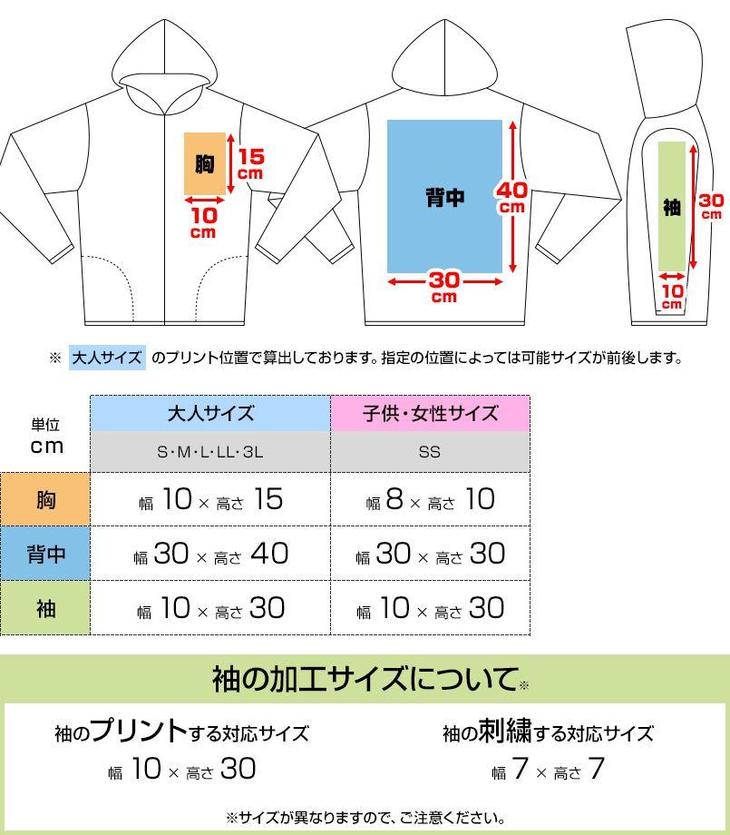 ドライジップパーカー(4.4オンス)(男女兼用) プリントエリア