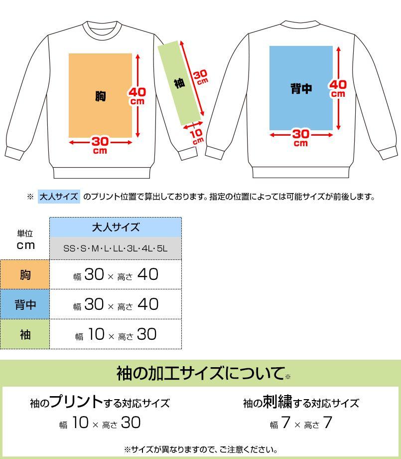 00346-AFC 10.0オンス ドライ裏フリーストレーナー プリントエリア
