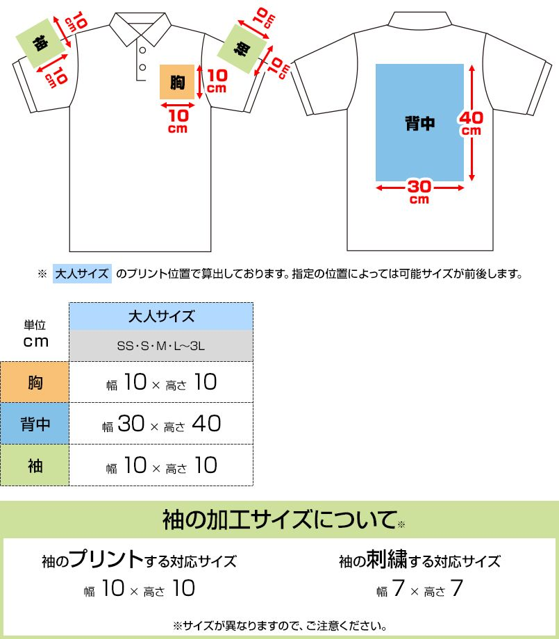 3.5オンス インターロックドライポロシャツ(男女兼用) プリントエリア