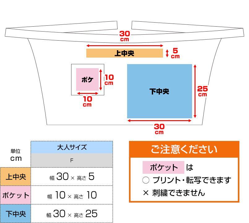 ショートエプロン(男女兼用) プリントエリア