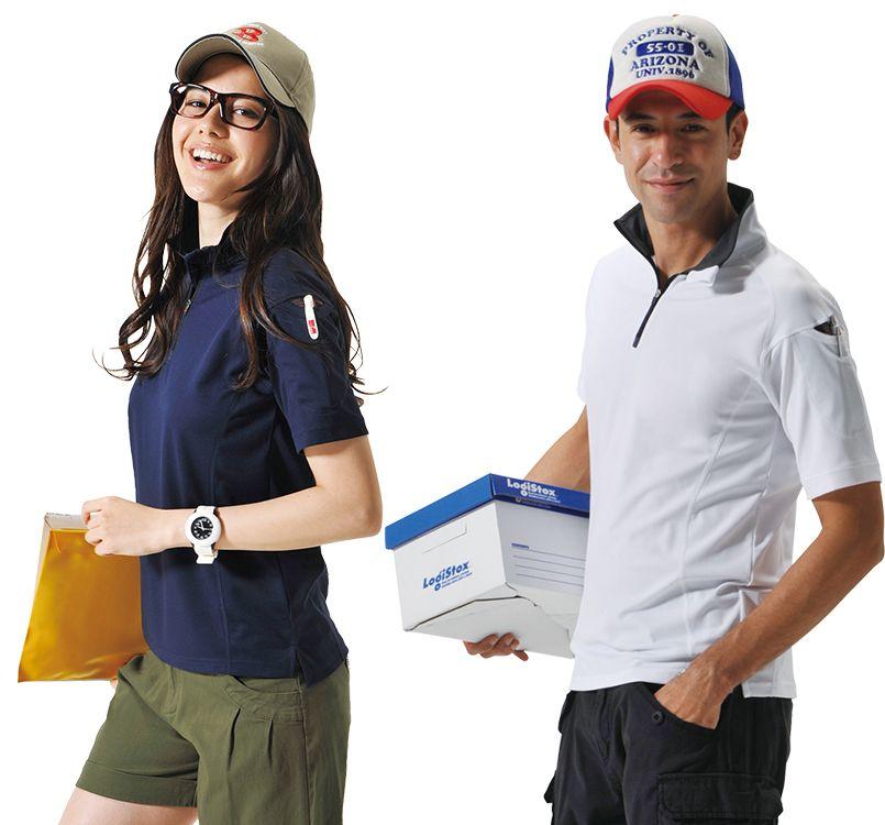 バートル バートル 415 [春夏用]ドライメッシュ半袖ジップシャツ[左袖ポケット付](男女兼用) 11-415 ドライメッシュ半袖ジップシャツ モデル着用雰囲気2