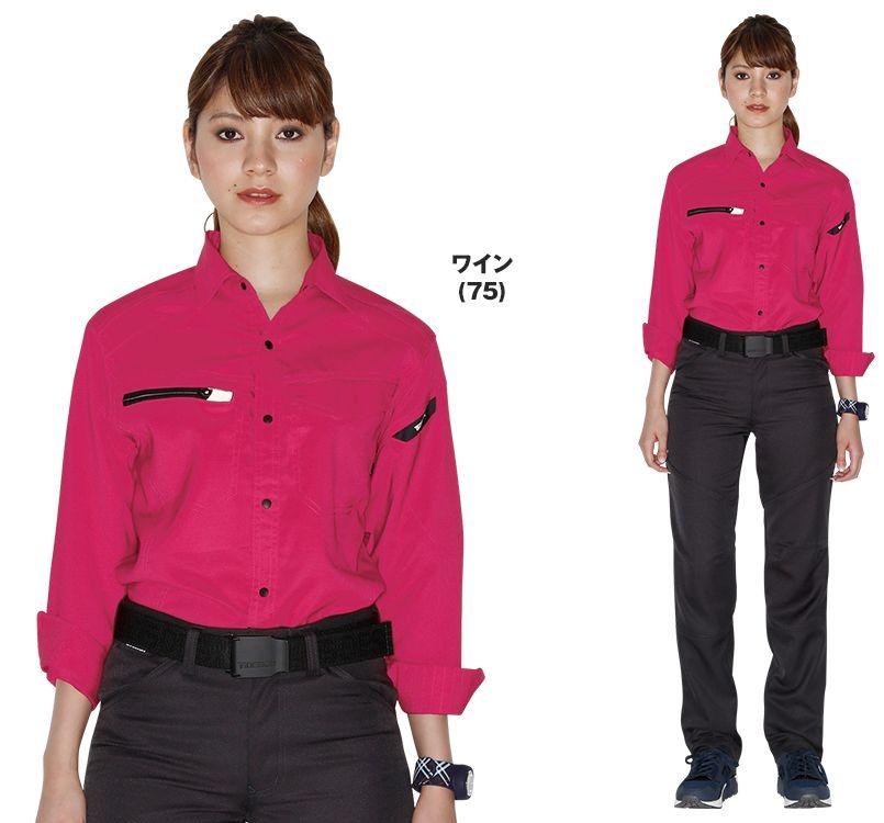 TS DESIGN(藤和) TS DESIGN 8105 [通年]AIR ACTIVE ロングスリーブシャツ(男女兼用) 14-8105 AIR ACTIVE ロングスリーブシャツ モデル着用雰囲気2