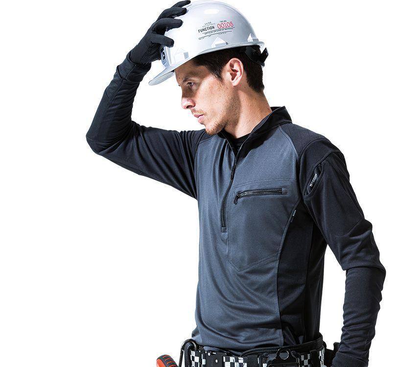 TS DESIGN(藤和) TS DESIGN 846305 [春夏用]ワークニット 長袖ドライポロシャツ(男女兼用) 14-846305 ワークニットロングシャツ モデル着用雰囲気2