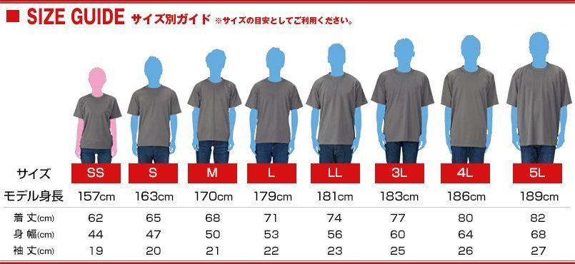 00300-ACT ドライTシャツ(4.4オンス)(男女兼用) サイズガイド