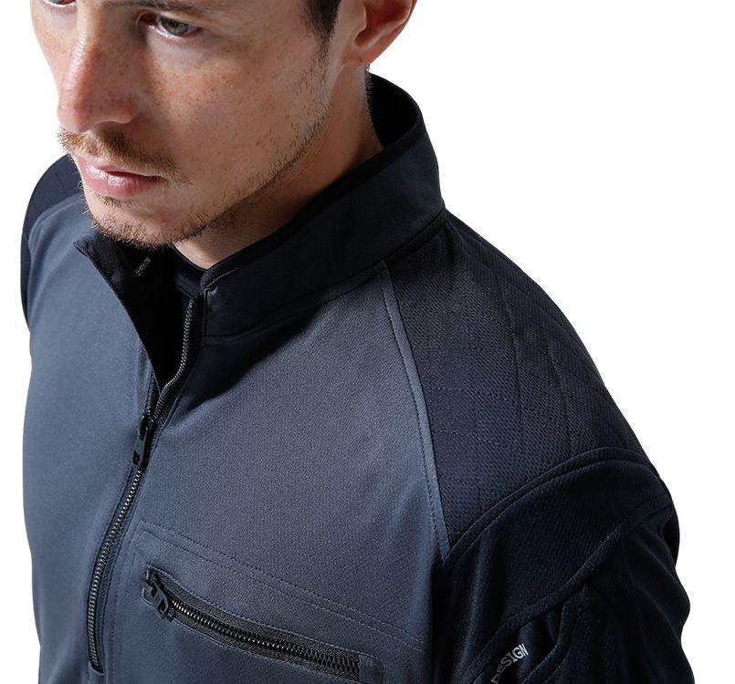 TS DESIGN(藤和) TS DESIGN 846305 [春夏用]ワークニット 長袖ドライポロシャツ(男女兼用) 14-846305 ワークニットロングシャツ モデル着用雰囲気3