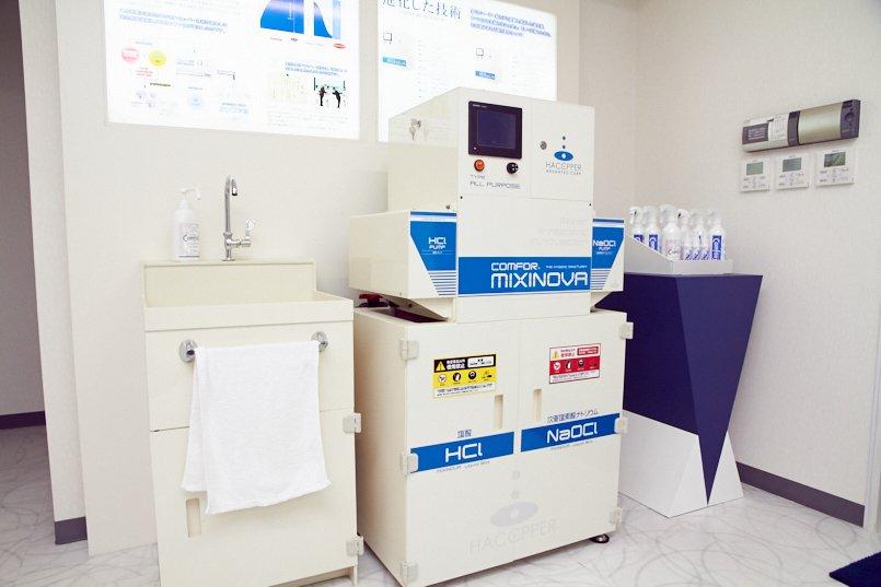 病院や工場などに導入されているカンファスイ生成機