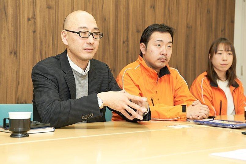 管理の和田様、ホール事業部の中川西様、総務課の笠原様